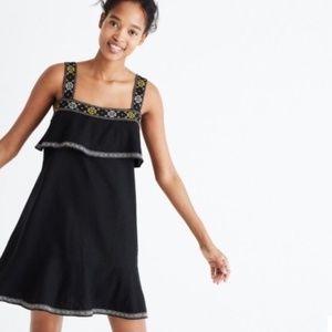 Madewell Black Embroidered Tier Dress Medium